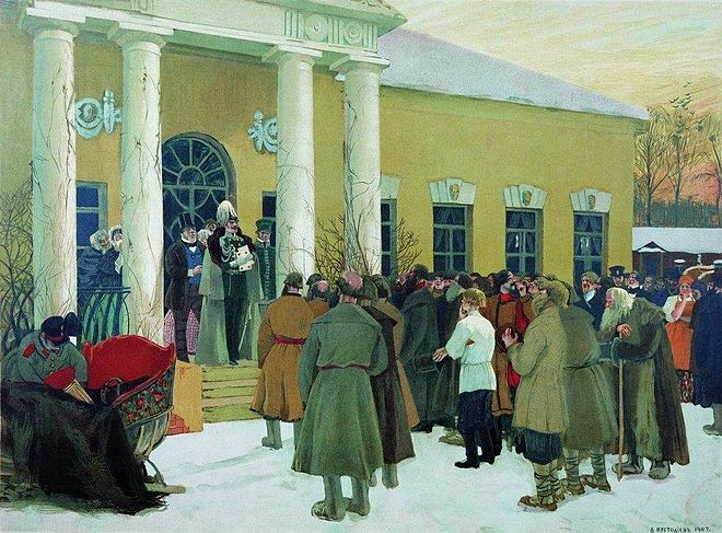 1907 painting by Boris Kustodiev depicting Russian serfs listening to the proclamation of the Emancipation Manifesto in 1861