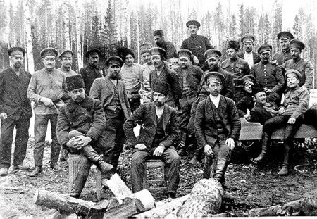 Mennonite men at the Anadol forestry station.