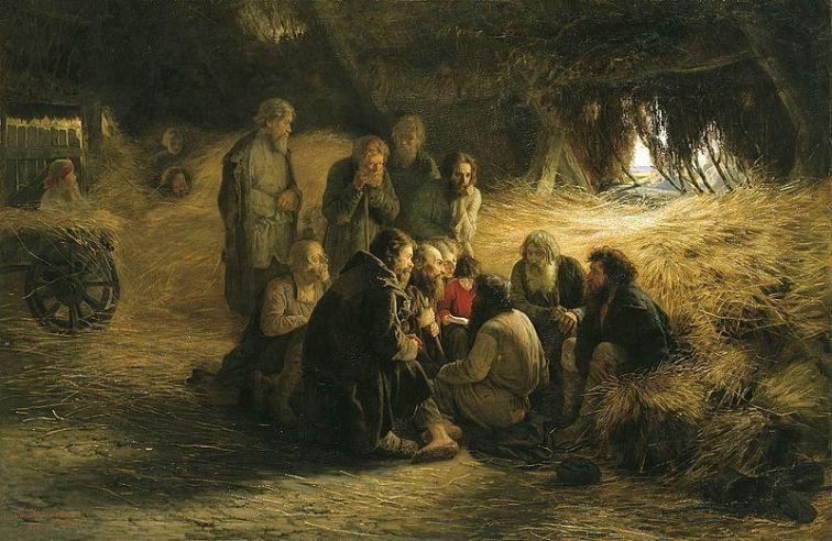 Peasants Reading the Emancipation Manifesto, an 1873 painting by Grigory Myasoyedov