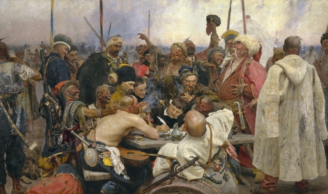 Reply_of_the_Zaporozhian_Cossacks painting by Ilja_Jefimowitsch_Repin
