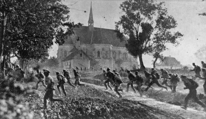 Russian troops fleeing German assault on the Eastern front