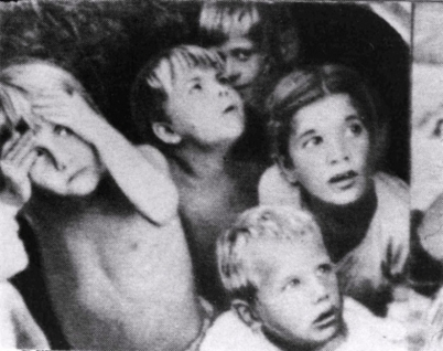 Fright of children in Stalingrad (the bombing)