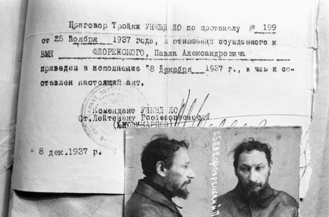 Information about the execution of the death warrant of the NKVD troika in relation to the Russian scholar and theologian Pavel Florensky, 1937