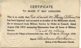 Mennonite exemption card in Canada2