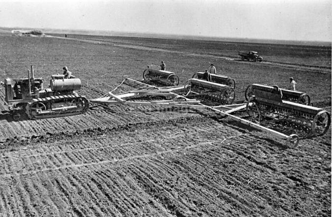 Sowing crops on collective farm, Ukraine