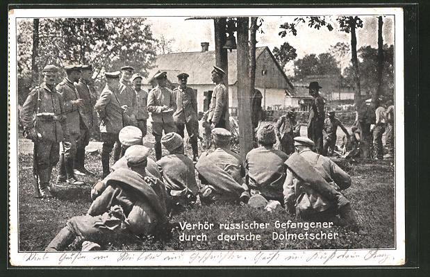 AK-Verhoer-russischer-Gefangener-durch-deutsche-Dolmetscher