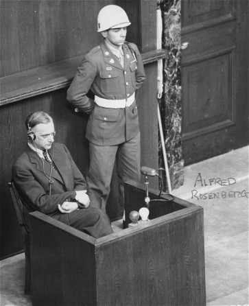Alfred Rosenberg in the witness box at the International Military Tribunal war crimes trial at Nuremberg
