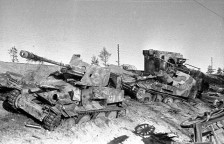 Destroyed German armour somewhere in Belarus. 1944