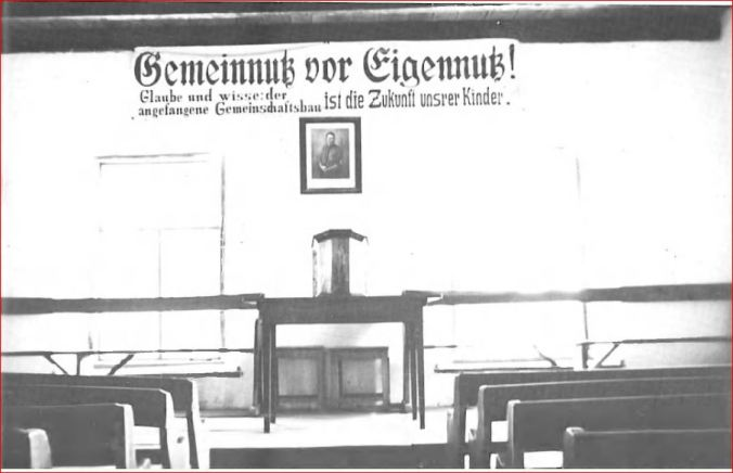 Hitler motto and photo in Fernheim, Paraguay Menno church