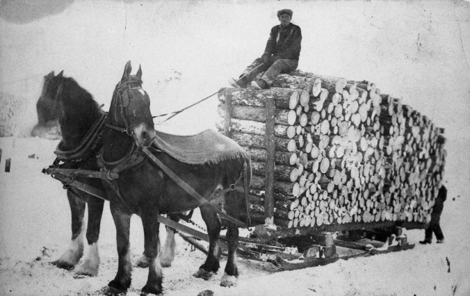 Carter Joseph Lavoie with a load of logs, Township of Moonbeam, Ontario, circa 1920 photo Canadian-French Civilization Research Center