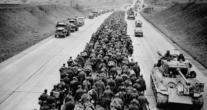 German Prisoners March Along Highway