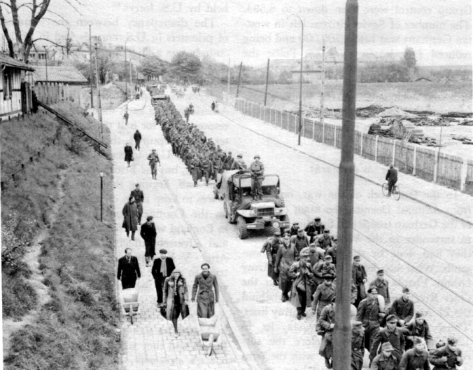 PRISONER OF WAR COLUMN marches through Munich