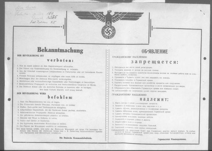 The rules of German occupation